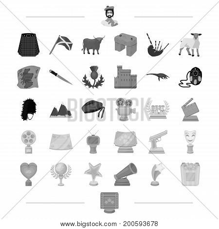 business, leisure, entertainment and other  icon in monochrome style.gift, trip, tourism icons in set collection.