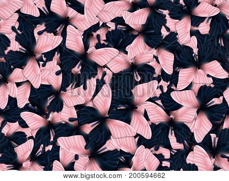Seamless pattern with lot of different butterflys. Realistic 3D illustration