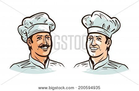 Portrait of happy smiling chef, cook or baker in hat. Cartoon vector illustration isolated on white background