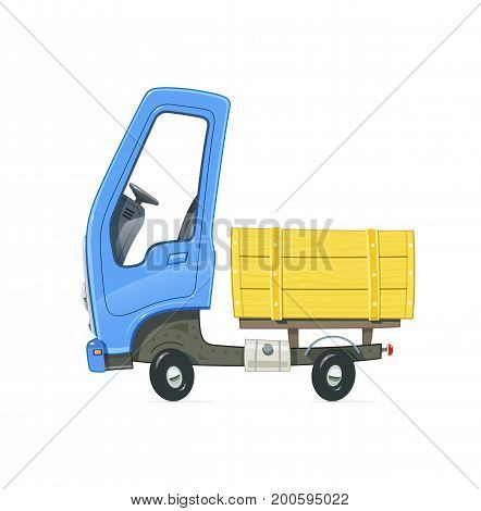 Small Truck. Lorry with blue cabin. Cartoon auto. Delivery transport. Isolated white background. Vector illustration.