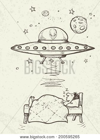 Fantastic doodle background with UFO abducts a sleeping man. Vector illustration.