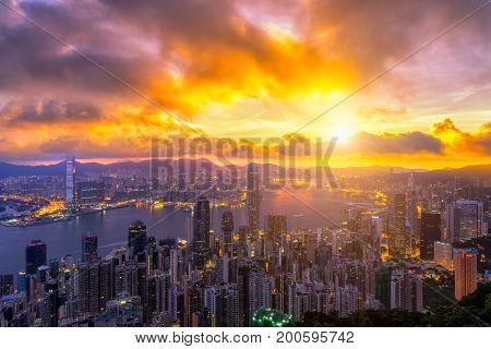 Hong Kong City skyline at sunrise. View from The Peak Hongkong. from night to day