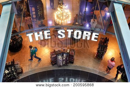 DUBLIN IRELAND - AUGUST 3 2017 : Guinness store in Dublin. Guinness Storehouse is a tourist attraction at St. James's Gate Brewery in Dublin Ireland.