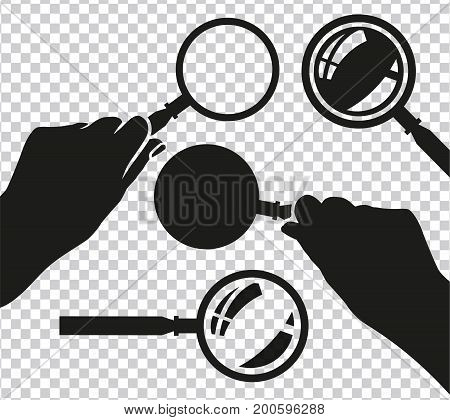 Hand with the magnifier.  Searching, detecting and analyzing concept. Vector illustration useful for search sign and icon in black colour isolated on a transparent background.
