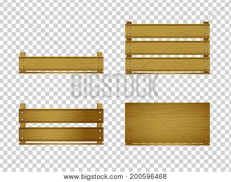 Wooden crates for fruits or vegetables. Food storage and transportation boxes of different sizes isolated on a transparent background. Vector illustration.