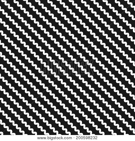 Diagonal wavy lines seamless pattern. Vector abstract monochrome geometric striped background. Simple minimalist aWavy lines pattern. Vector abstract monochrome geometric striped background. Simple minimalist black & white zigzag texture, slanted waves. M