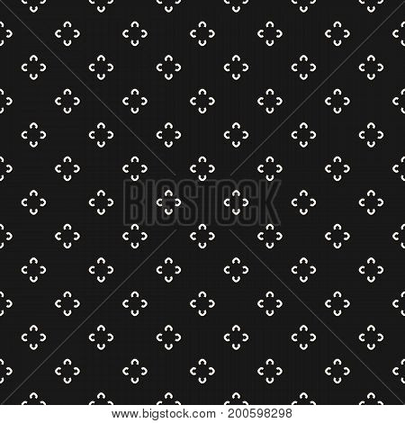Simple floral pattern. Vector minimalist seamless texture with tiny flower shapes. Abstract minimal geometric monochrome background. Dark repeat design for textile, decoration, fabric, digital, web.