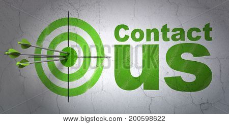 Success marketing concept: arrows hitting the center of target, Green Contact Us on wall background, 3D rendering