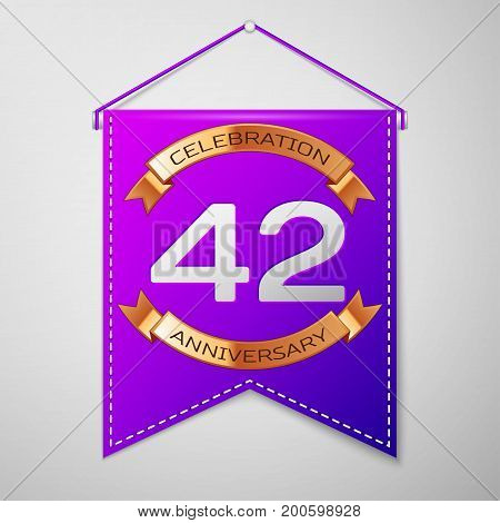 Realistic Purple pennant with inscription Forty two Years Anniversary Celebration Design on grey background. Golden ribbon. Colorful template elements for your birthday party. Vector illustration