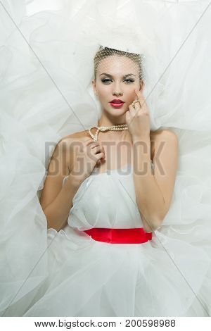 Portrait of beautiful fashion bride. Vintage style.