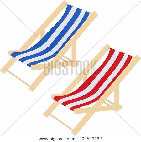 simple blue and red white stripes summer beach sunbed lounger chair wood isolated on white. Vector illustration