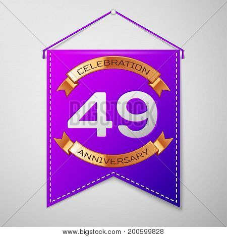 Realistic Purple pennant with inscription Forty nine Years Anniversary Celebration Design on grey background. Golden ribbon. Colorful template elements for your birthday party. Vector illustration