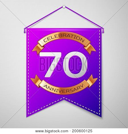Realistic Purple pennant with inscription Seventy Years Anniversary Celebration Design on grey background. Golden ribbon. Colorful template elements for your birthday party. Vector illustration