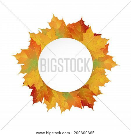 Big Autumn round paper banner. Can be used for flyers, banners or posters. Vector illustration with colorful autumn leaves. Thanksgiving Holiday decoration. Maple tree leaves.