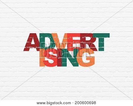 Advertising concept: Painted multicolor text Advertising on White Brick wall background