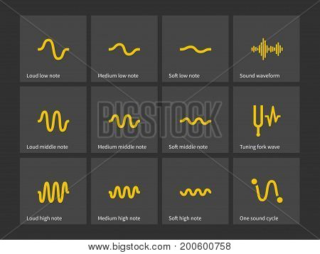 Sound note wave types icons. Vector illustration.