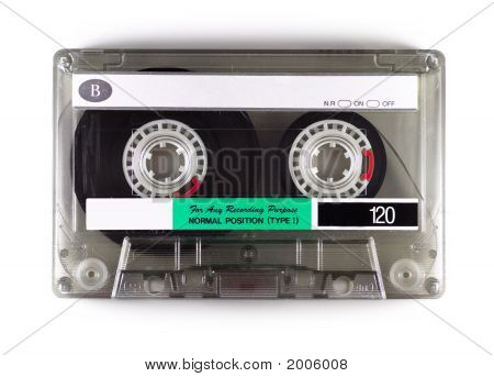 Photograph of an audio cassette recording tape. poster