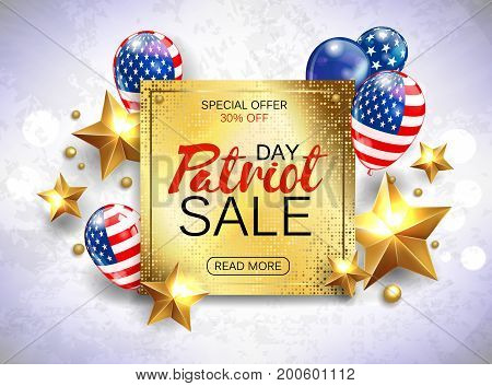 Memorial day sale promotion advertising banner template decor with golden stars and American flag balloons design. Vector illustration .