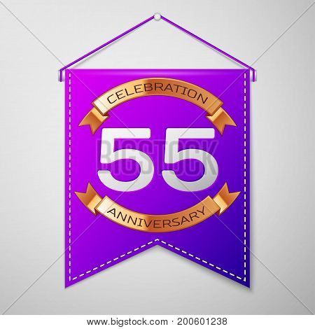 Realistic Purple pennant with inscription Fifty five Years Anniversary Celebration Design on grey background. Golden ribbon. Colorful template elements for your birthday party. Vector illustration