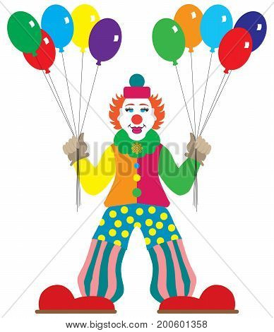 Flat vector smiling cartoon clown is holding balloons