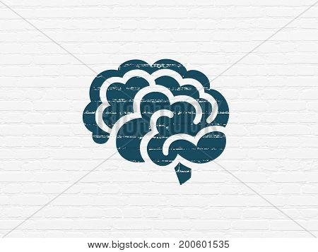 Medicine concept: Painted blue Brain icon on White Brick wall background