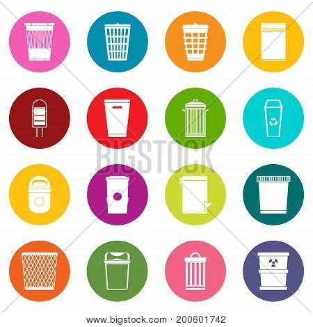 Trash can icons many colors set isolated on white for digital marketing