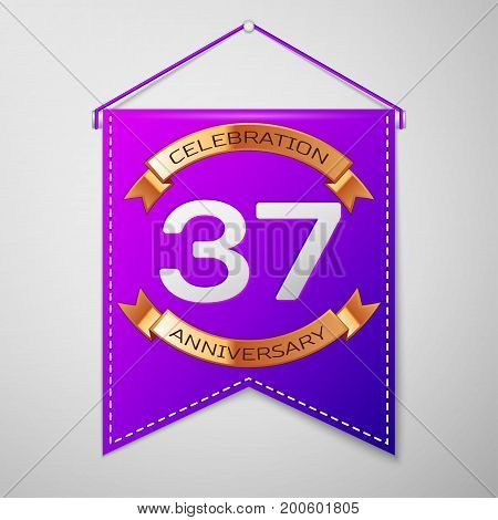 Realistic Purple pennant with inscription Thirty seven Years Anniversary Celebration Design on grey background. Golden ribbon. Colorful template elements for your birthday party. Vector illustration