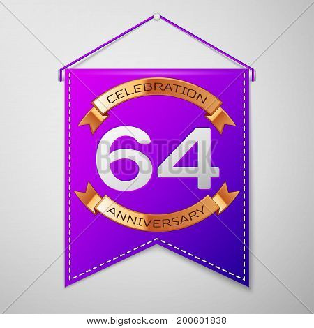 Realistic Purple pennant with inscription Sixty four Years Anniversary Celebration Design on grey background. Golden ribbon. Colorful template elements for your birthday party. Vector illustration