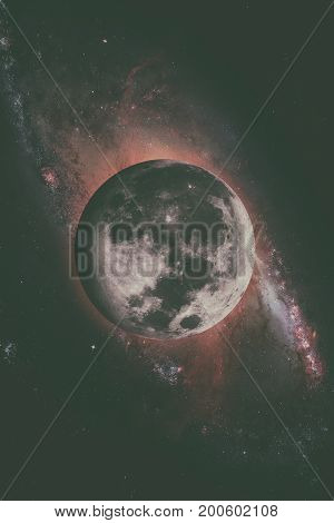 Earths Moon. Outer Space Background.