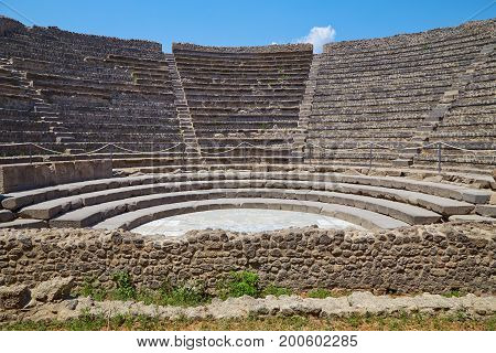 Small amphitheater in Pompeii Italy on a summer sunny day