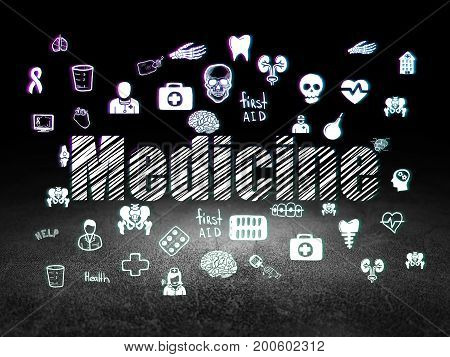 Health concept: Glowing text Medicine,  Hand Drawn Medicine Icons in grunge dark room with Dirty Floor, black background