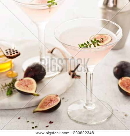 Pink fig, thyme and honey martini, fall cocktail recipe