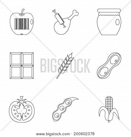 GMO free icon set. Outline set of 9 GMO free vector icons for web isolated on white background