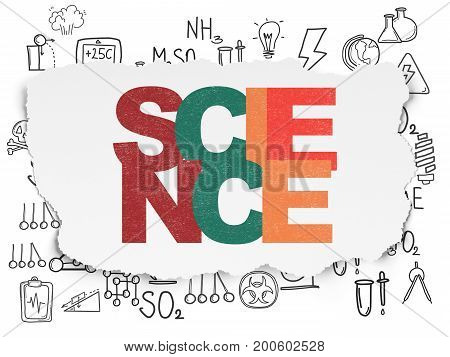 Science concept: Painted multicolor text Science on Torn Paper background with  Hand Drawn Science Icons