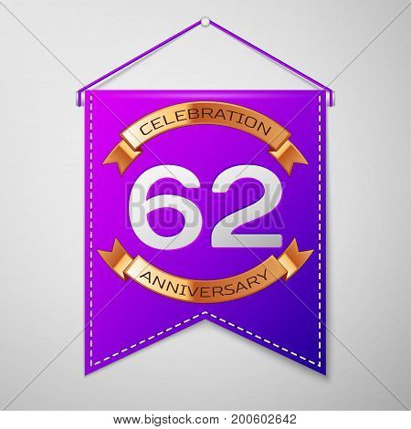 Realistic Purple pennant with inscription Sixty two Years Anniversary Celebration Design on grey background. Golden ribbon. Colorful template elements for your birthday party. Vector illustration
