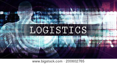 Logistics Industry with Futuristic Business Tech Background 3D Illustration Render