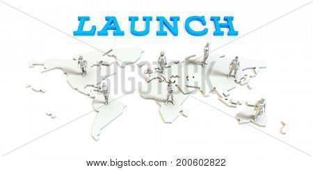 Launch Global Business Abstract with People Standing on Map 3D Illustration Render