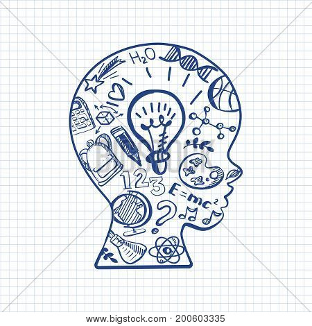 Education doodle style symbols in boys head on paper sheet. Vector illustration. Kids face profile contour with sketch lamp and over icons. Pen drawn contour of schoolboy profile.