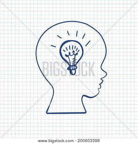 Education doodle styled symbol in boys head on paper sheet. Vector illustration. Kids face profile contour with sketch lamp. Pen drawn contour of schoolboy profile. Idea concept