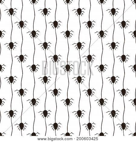 Halloween pattern with spiders. Black and white seamless background. Textile or wrapping paper.