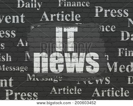 News concept: Painted white text IT News on Black Brick wall background with  Tag Cloud