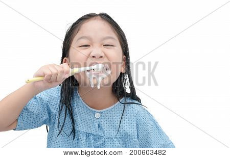 Cute Girl Brushing Teeth In Morning Isolated