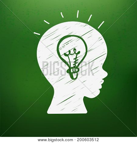 Education doodle styled symbol in boys head on green chalkboard. Vector illustration. Kids face profile contour with sketch lamp. Contour of schoolboy profile. Idea concept