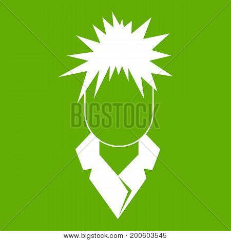 Singer icon white isolated on green background. Vector illustration