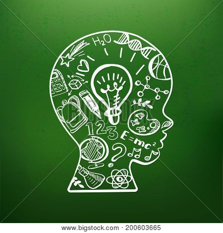 Education doodle style symbols in boys head on chalkboard. Vector illustration. Kids face profile contour with sketch lamp and over icons. Contour of schoolboy profile.