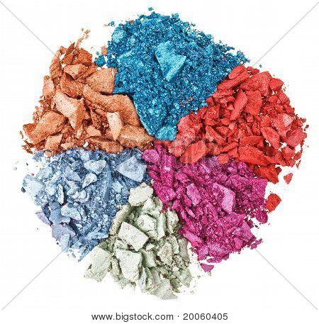 Set Of Broken Multicolor Eye Shadow, Isolated On White Macro