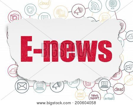 News concept: Painted red text E-news on Torn Paper background with Scheme Of Hand Drawn News Icons