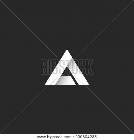 Triangle Logo Gradient White Stripe Style, Sharp Corner Geometric Overlapping Shape, Idea Abstract L