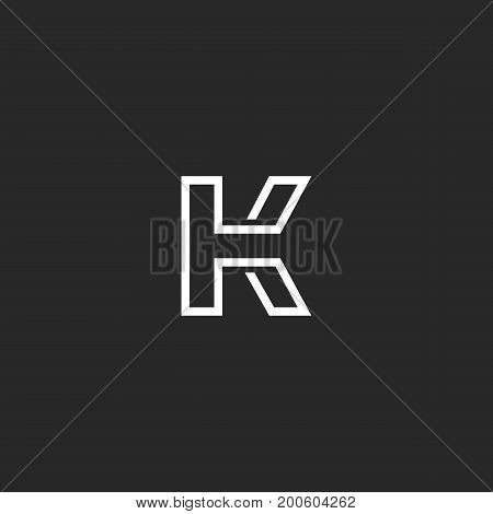 Letter K Logo Monogram, Thin Monoline Style Minimal Mark, Linear Typography Design Element Emblem Mo