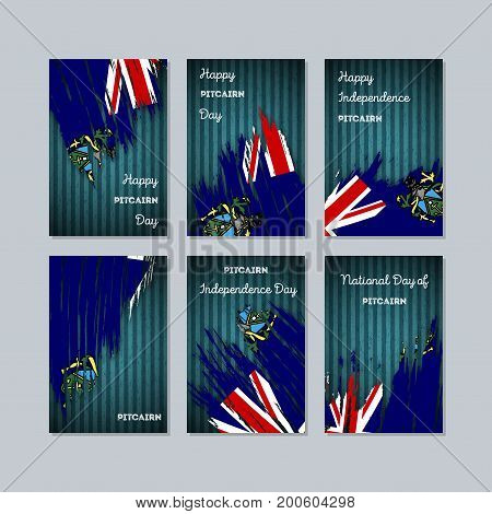 Pitcairn Patriotic Cards For National Day. Expressive Brush Stroke In National Flag Colors On Dark S